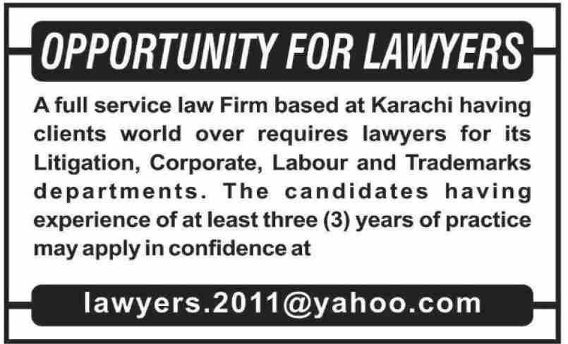 Lawyer Jobs in Karachi