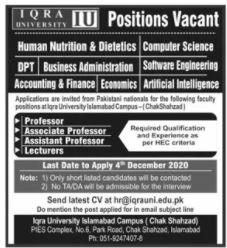 Iqra University Islamabad Campus Jobs 2020