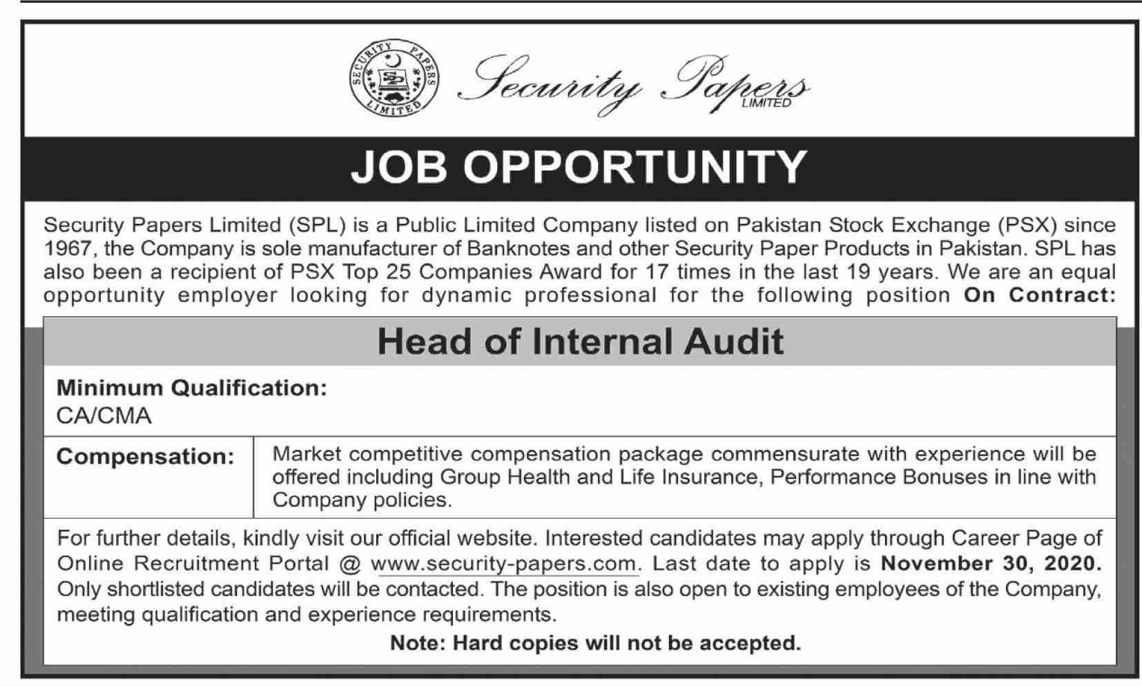 Head of Internal Audit Job in Karachi