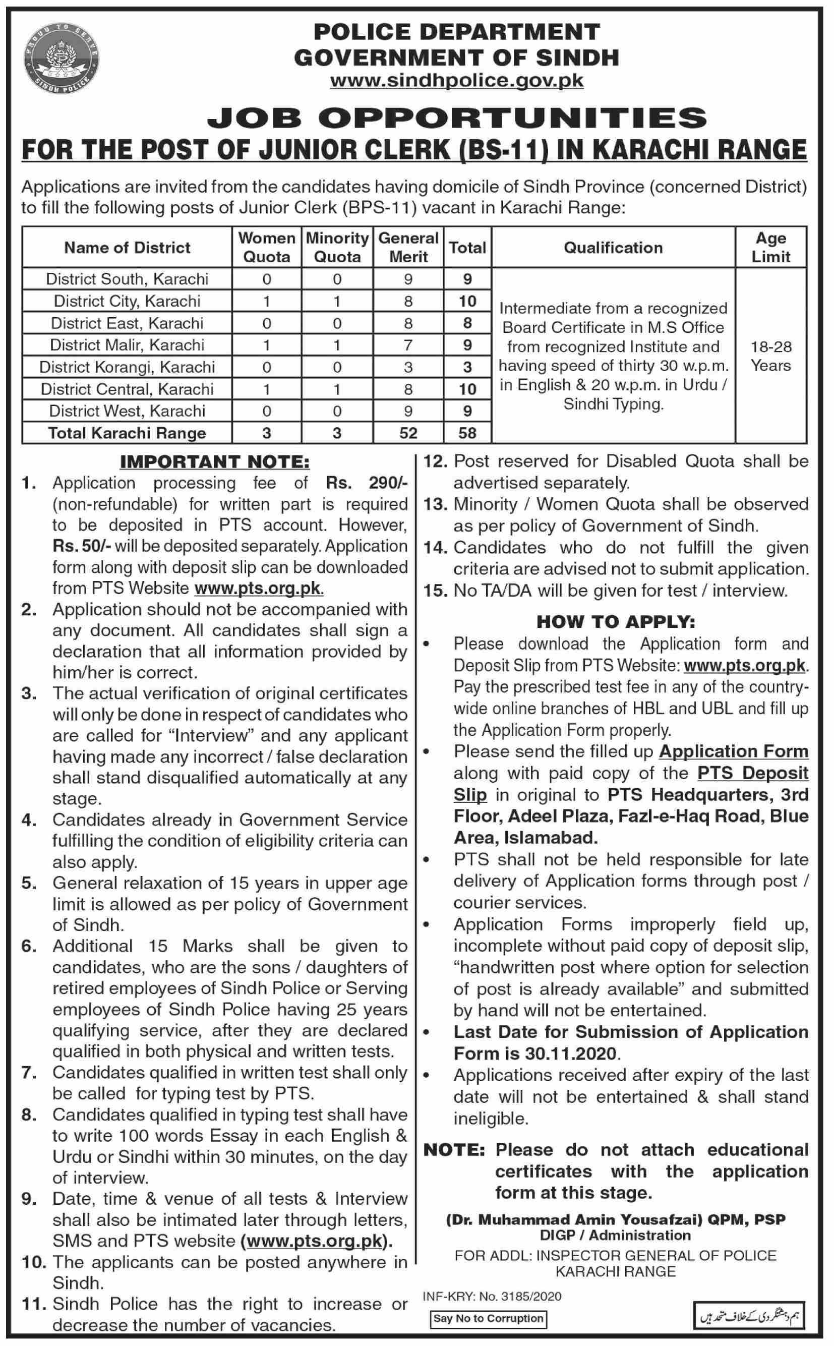 Sindh Police Department Karachi Jobs 2020