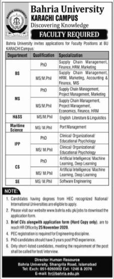 Bahria University Karachi Campus Faculty Jobs 2020