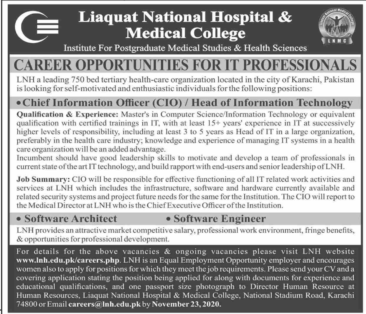 Liaquat National Hospital & Medical College Jobs in Karachi