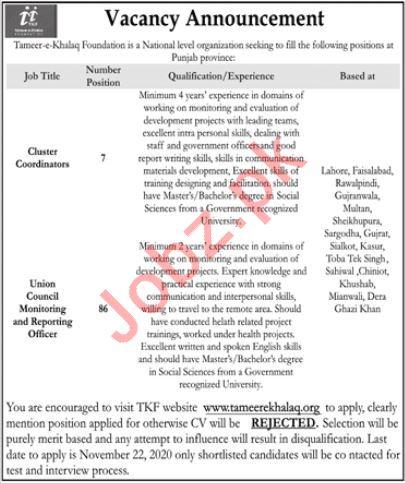 Tameer e Khalaq Foundation Management Jobs 2020