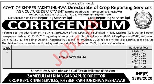 Directorate of Crop Reporting Services KPK Jobs 2020