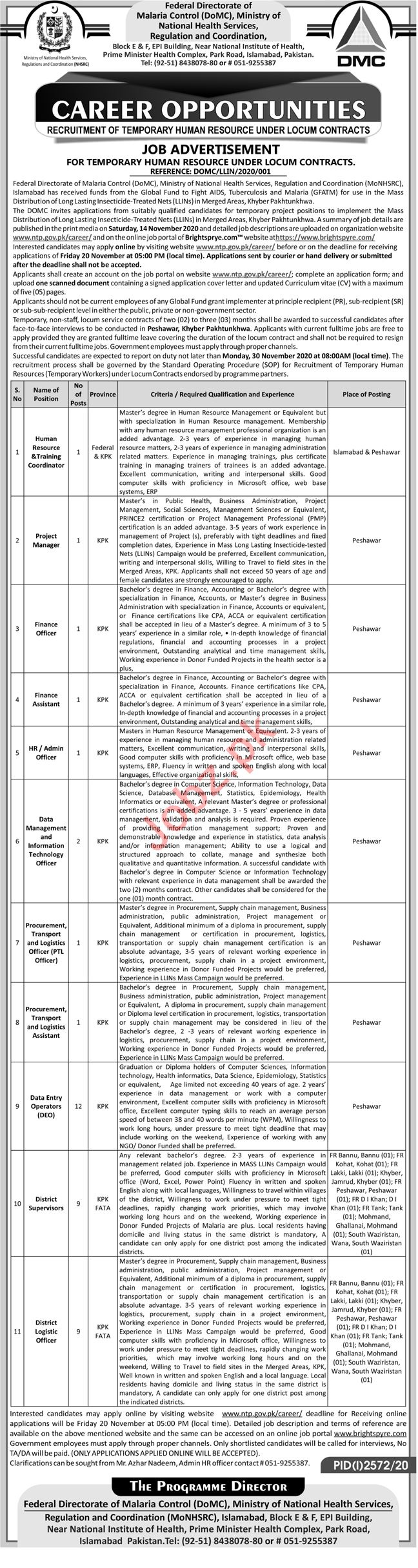 Federal Directorate of Malaria Control Jobs 2020 for Manager