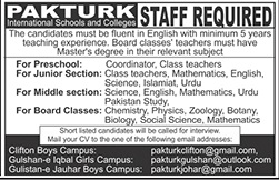 PakTurk International Schools & Colleges Jobs 2020