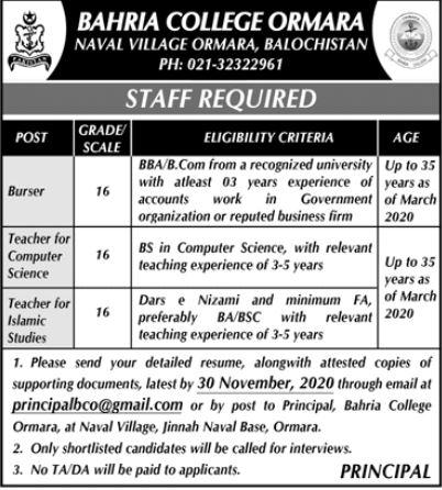 Bahria College Ormara Balochistan Jobs For Teaching Staff