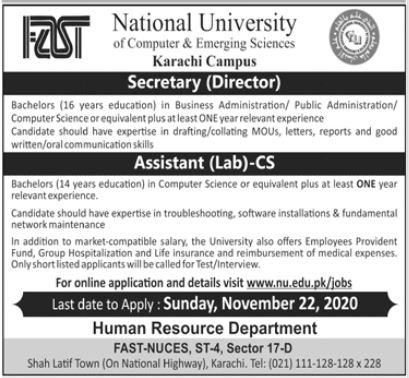National University of Computer & Emerging Sciences Job 2020