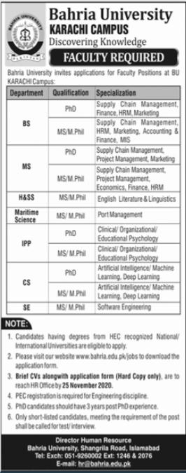 Bahria University Karachi Campus Jobs 2020