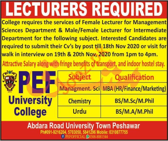 Lecturer Jobs 2020 in PEF University College Peshawar