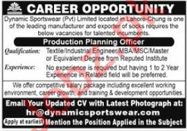 Dynamic Sportswear Production Planning Officer Jobs