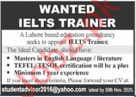 IELTS Trainer Jobs in Education Consultancy Firm
