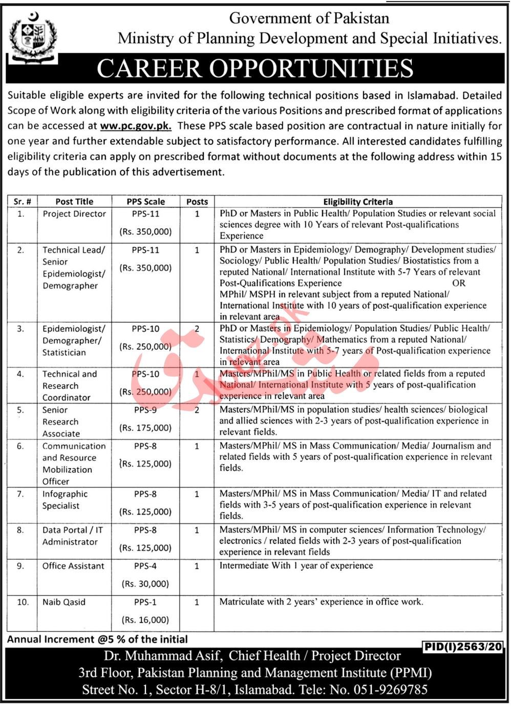 Pakistan Planning & Management Institute PPMI Islamabad Jobs