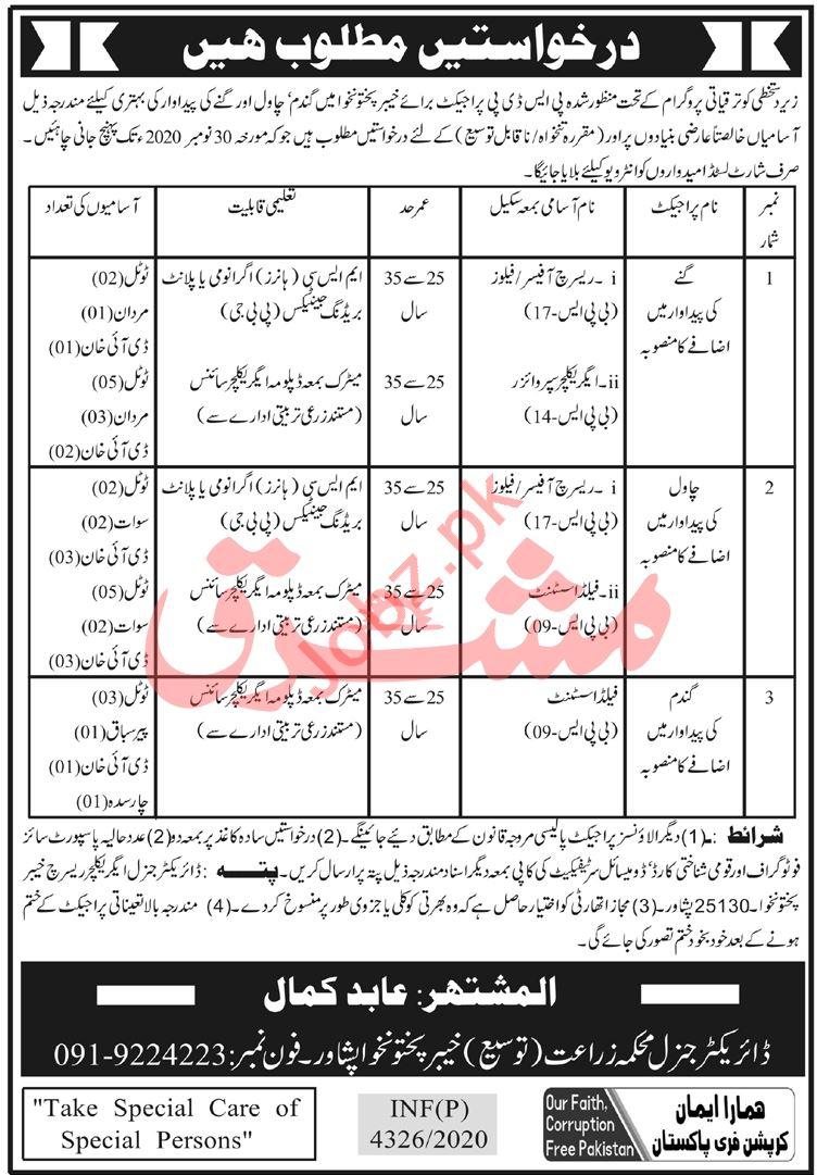 Agriculture Extension Department Peshawar Jobs 2020