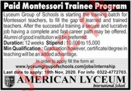 American Lyceum International School Teaching Jobs 2020