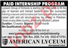 Lyceum Group of Schools Paid Internship Program 2020