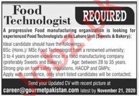 Fiood Technologist Jobs in Gourmet Pakistan