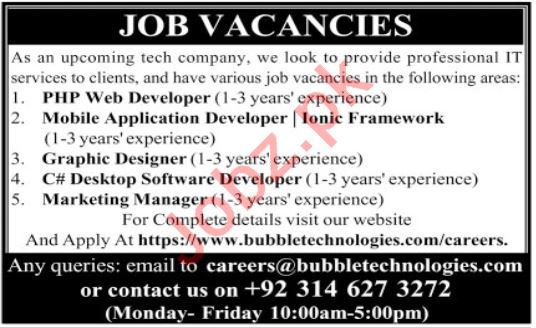 IT Staff jobs Bubble Technologies