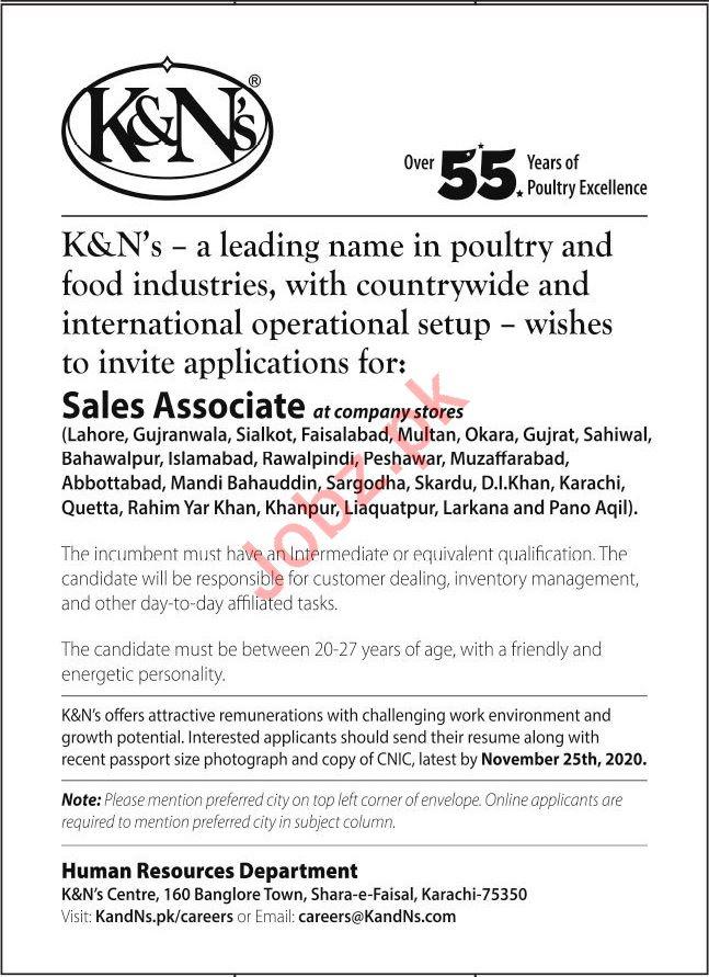 K&Ns Poultry Food Industries Sales Associate Jobs 2020