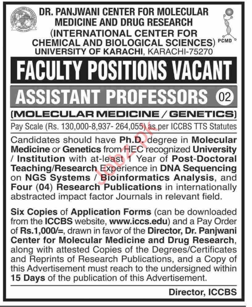 Dr Panjwani Center for Molecular Medicine ICCBS Jobs 2020