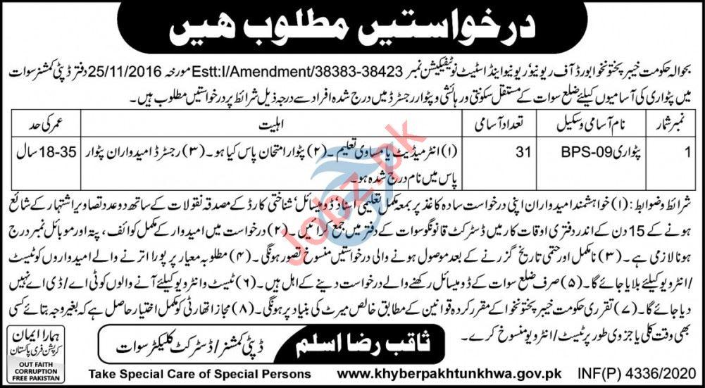 Khyber Pakhtunkhwa Board of Revenue Authority KPRA Jobs 2020
