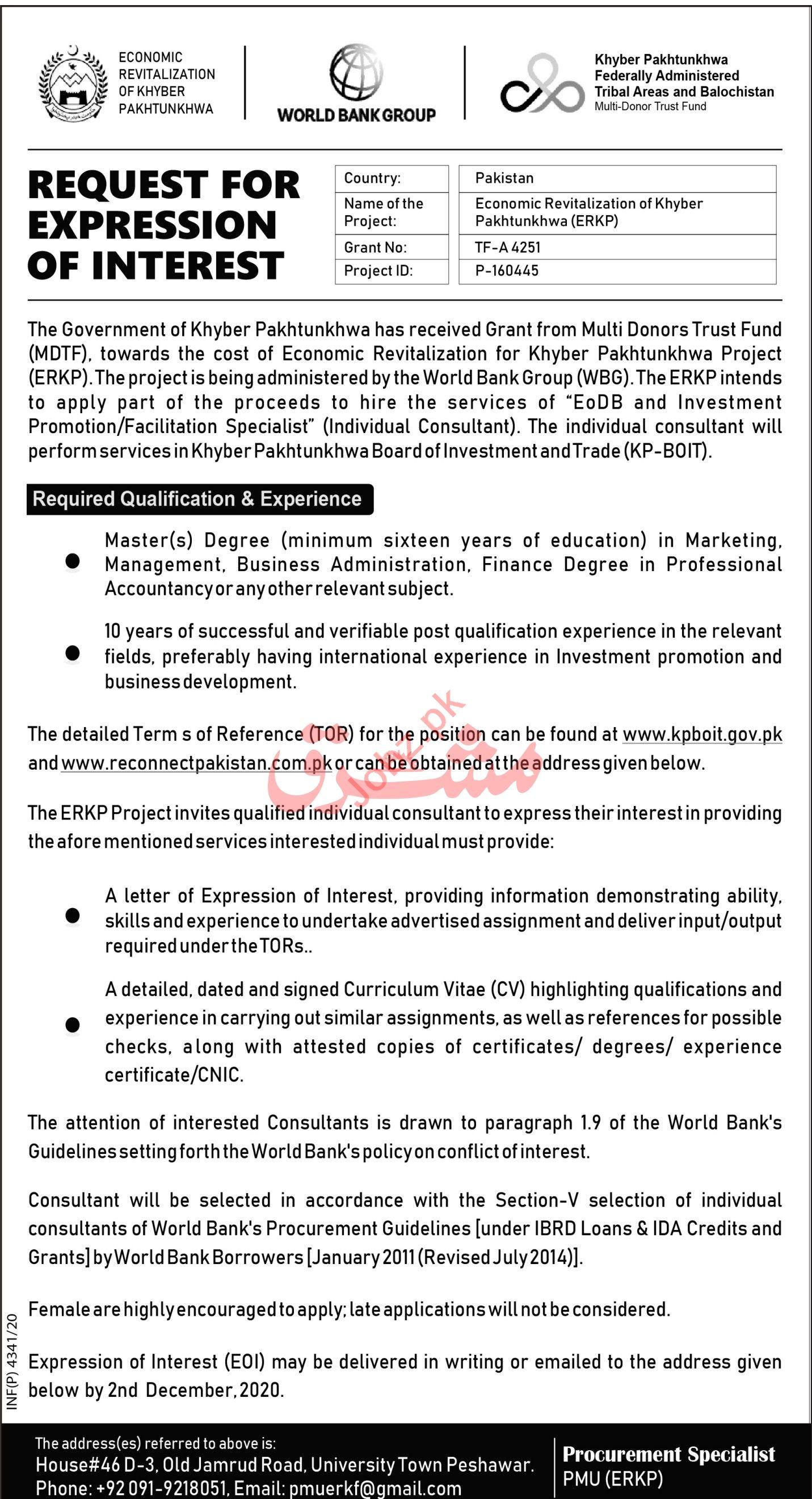 Economic Revitalization of Khyber Pakhtunkhwa ERKP Jobs 2020