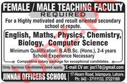 Jinnah Officers School JOS Lahore Jobs 2020 for Teachers