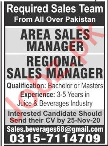 Area Sales Manager & Regional Sales Manager Jobs 2020