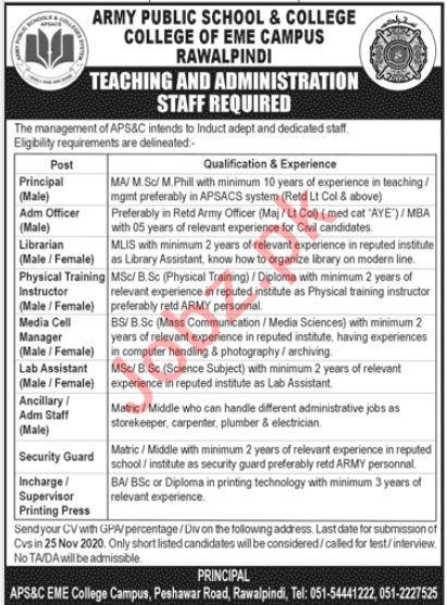 Army Public School & College EME Campus Rawalpindi Jobs 2020