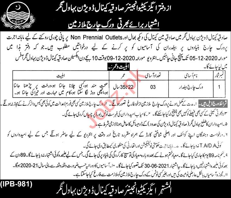 Sadiqa Canal Division Bahawalnagar Jobs 2020 for Baildar
