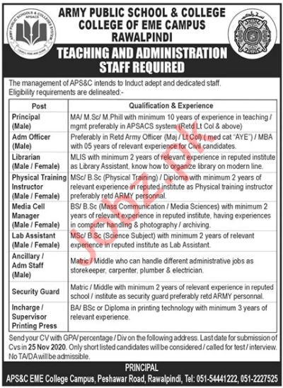 Army Public School & College EME Campus APS&C Jobs 2020