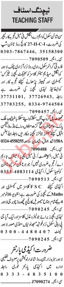 Jang Sunday Classified Ads 15 Nov 2020 for Teaching Staff
