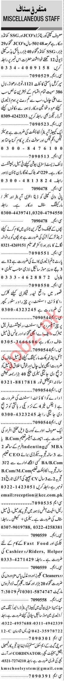 Jang Sunday Classified Ads 15 Nov 2020 for Admin Staff