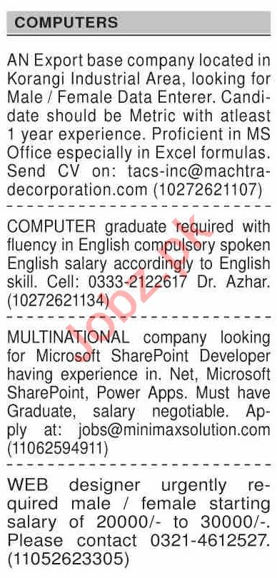 Dawn Sunday Classified Ads 15 Nov 2020 for Computer Staff