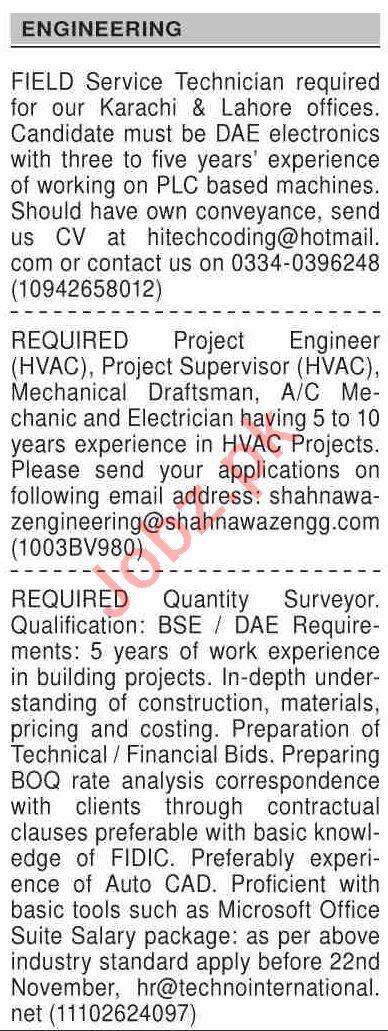 Dawn Sunday Classified Ads 15 Nov 2020 for Engineering Staff