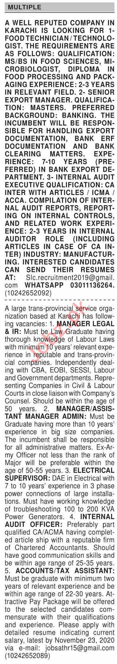 Dawn Sunday Classified Ads 15 Nov 2020 for Multiple Staff