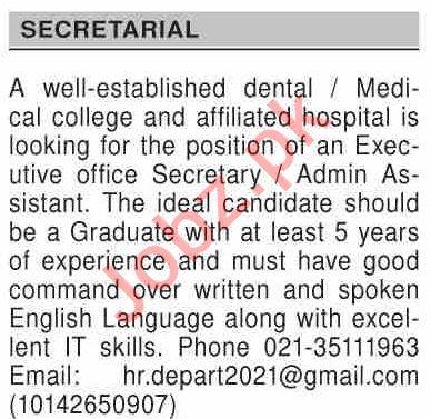 Dawn Sunday Classified Ads 15 Nov 2020 for Secretarial Staff