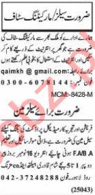 Nawaiwaqt Sunday Classified Ads 15 Nov 2020 for Sales Staff