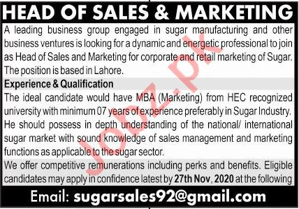 Head of Sales & Marketing Jobs 2020 in Lahore