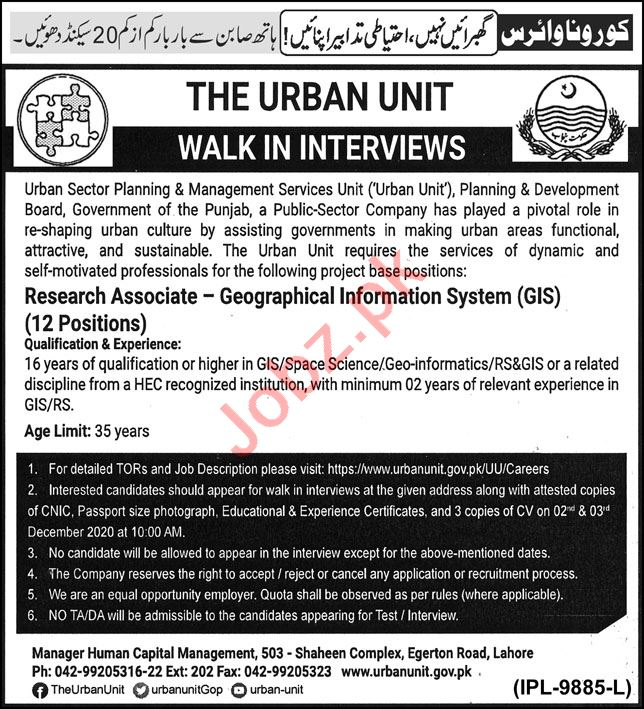 Research Associate Jobs Interview 2020 The Urban Unit Lahore