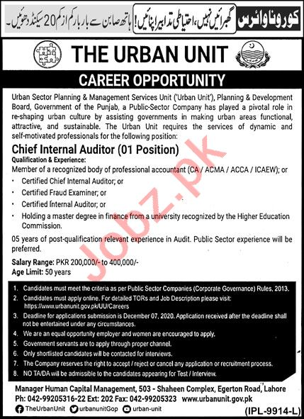 The Urban Unit Lahore Jobs 2020 for Chief Internal Auditor