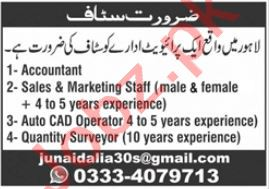 Auto CAD Operator & Accountant Jobs 2020 in Lahore