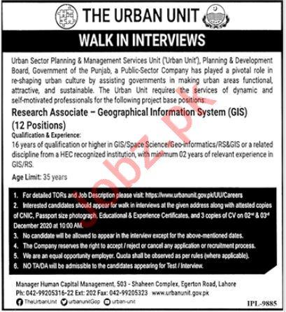 GIS Research Associate Jobs Interview 2020 for Urban Unit
