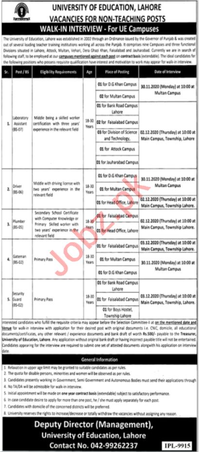 University of Education Lahore Jobs 2020 for Non Teaching