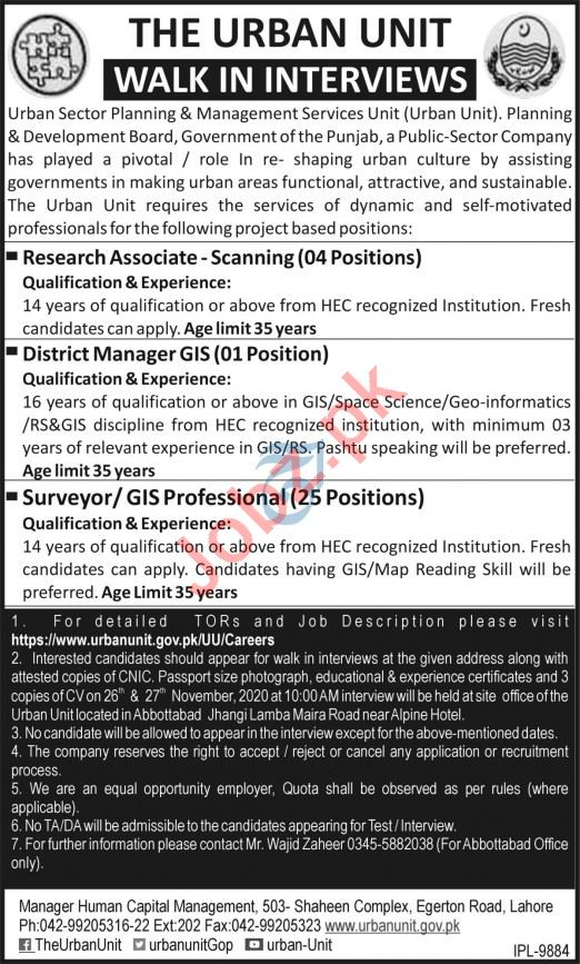 The Urban Unit Jobs 2020 for District Manager & Surveyor