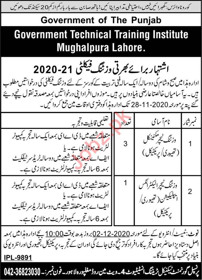 GTTI Mughalpura Lahore Jobs 2020 for Visiting Teacher