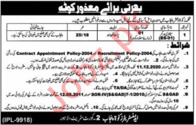 Zakat & Ushr Department Punjab Jobs 2020 for Sanitary Worker