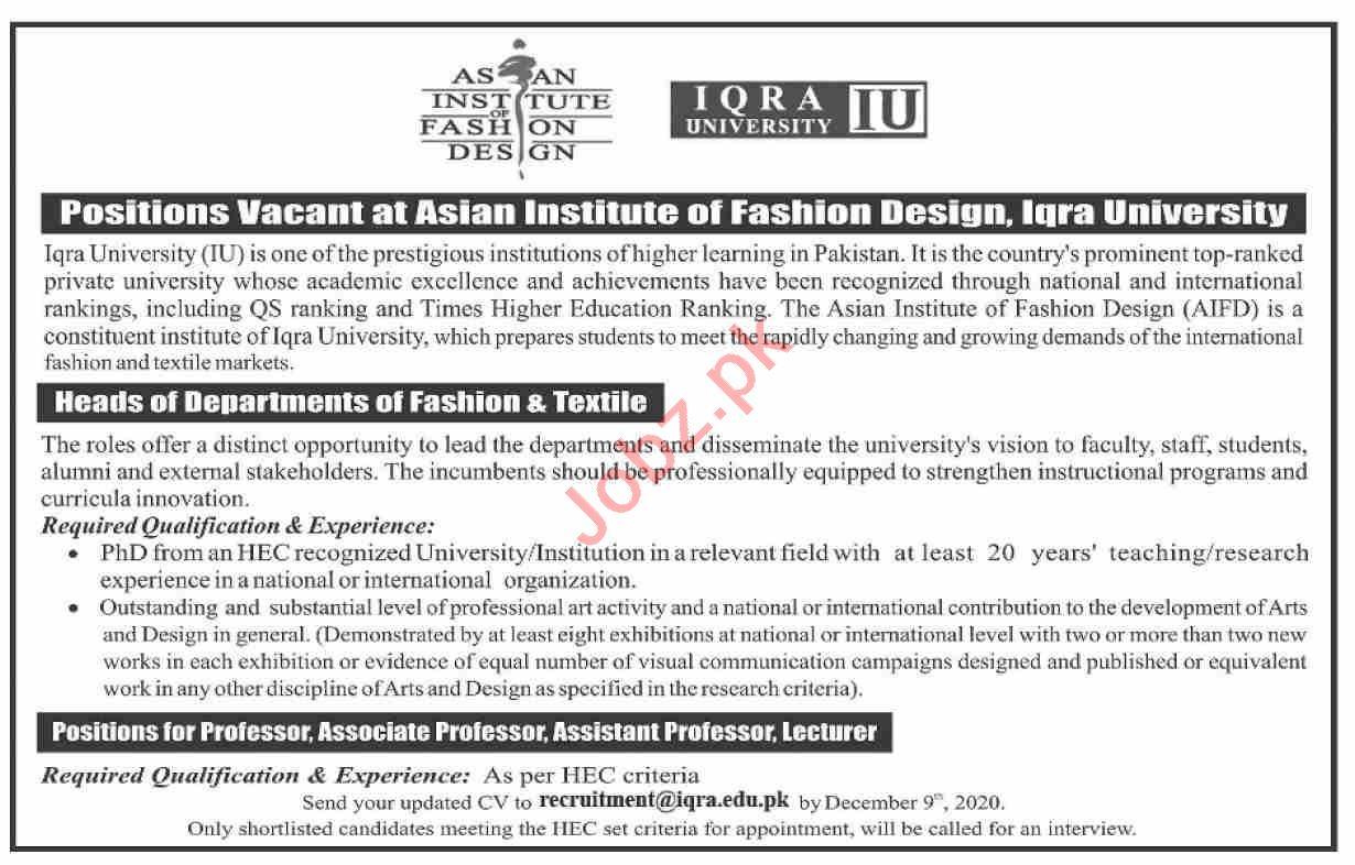 Asian Institute of Fashion Design AIFD Karachi Jobs 2020