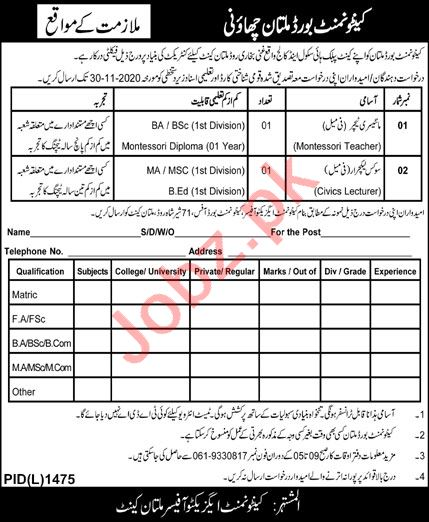 CB Public High School & College Multan Cantt Jobs 2020