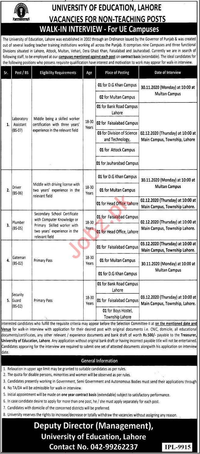 University of Education Lahore Non Teaching Staff Jobs 2020